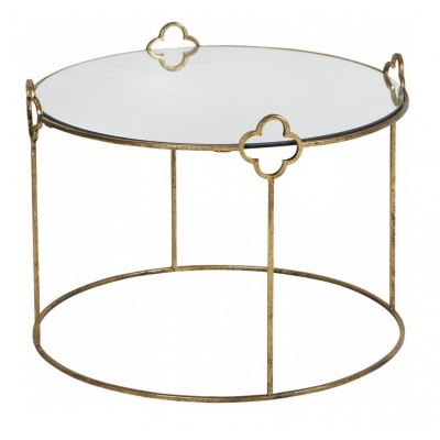 Tavolino dorato con specchio